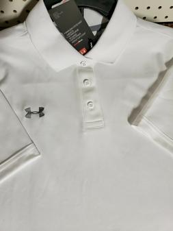 Mens Under Armour Polo button down golf shirt NEW White Size