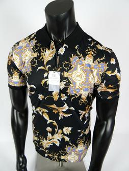 Mens Suslo Couture Polo Shirt Black Gold Leaf Florals Slim F