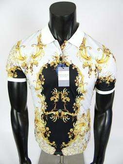 Mens Suslo Couture Polo Shirt Black with Gold Leaf Florals S