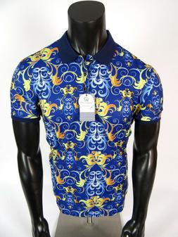 Mens Suslo Couture Polo Shirt Blue and Gold Leaf Florals Sli