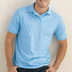 HANES Mens Polo Sport Shirt With Pocket Comfortblend Golf S,