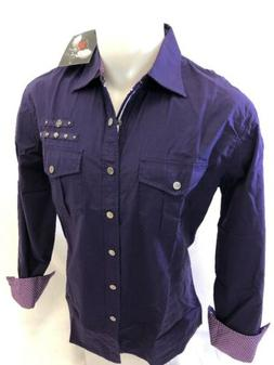 Mens HOUSE of LORDS PURPLE SNAP UP Shirt TWO POCKET LONG SLE