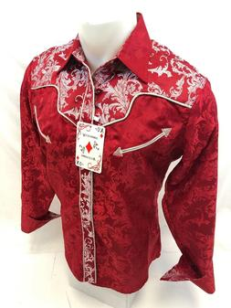 Mens RODEO WESTERN COUNTRY RED PAISLEY Long Sleeve Woven SNA