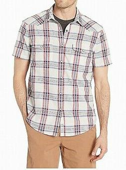Lucky Brand Mens Shirt Red Size Small S Plaid Santa Fe Butto