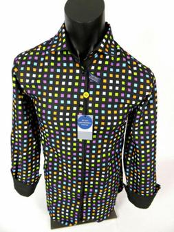 Mens Suslo Couture Shirt Slim Fit Black with Color Block Pri