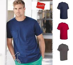 Hanes Mens Short Sleeve Blank  Cotton T Shirt with Pocket 55
