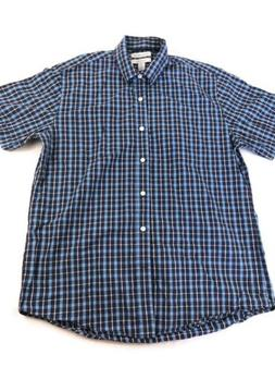 Amazon Essentials Mens Short Sleeve Blue Plaid Button Front
