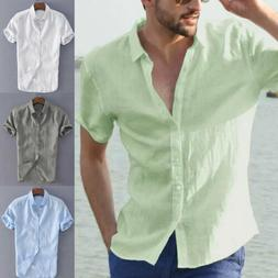 Mens Short Sleeve Button Down T-shirt Tops Slim Fit Casual D