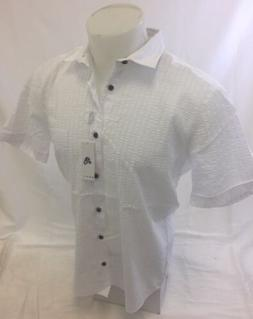Mens ENVY Short Sleeve Shirt Button Down ONE Pocket White Ro
