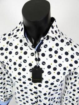 Mens Signature Slim Fit Casual Dress Shirt Black and White F
