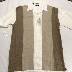 HAGGAR Mens Size LT Button Front Shirt, Short Sleeve Casual