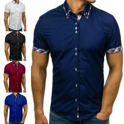 Mens Slim Fit Button Down Shirts Short Sleeve Casual Muscle
