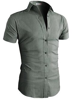 H2H Mens Slim Fit Short Sleeve Oxford Casual Button Down Shi