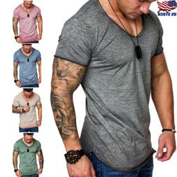 Mens Slim Fit V Neck Short Sleeve Muscle Tee Shirts Casual T