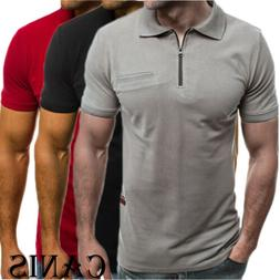 Mens Slim Zipper Fit Polo Shirts Short Sleeve Casual Muscle