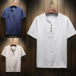 mens solid casual linen breathable fabric collarless