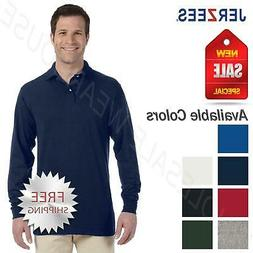 Jerzees Mens Spotshield Long Sleeve Jersey Polo Shirt 437ML