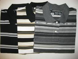 CHAPS MENS STRIPED POLO SHIRTS - SHORT SLEEVE - 100% COTTON
