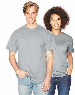 Hanes Mens T Shirt Beefy Adult Pocket 100% Cotton Blank Shor
