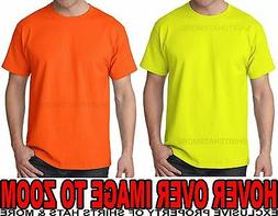 Hanes MENS T-Shirt Safety Green Yellow Orange Tagless S M L