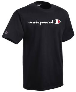 CHAMPION Mens T-Shirt SCRIPT LOGO Regular Fit BLACK Streetwe