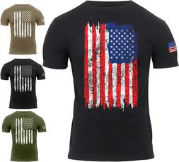 Mens US Flag Athletic T-Shirt Tactical Muscle Distressed Ame