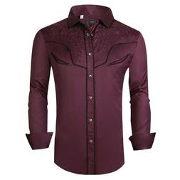 Mens Western Rodeo Cowboy Shirt Burgundy Embroidered Pockets
