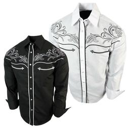 Mens Western Rodeo Cowboy Shirt Floral Embroidery Front and