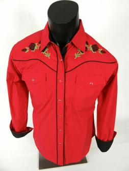 Mens Western Rodeo Cowboy Shirt Snap Up Red Embroidered Flor