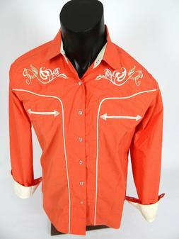 Mens Western Rodeo Shirt Salmon Color Snap-Up Embroidered Fl