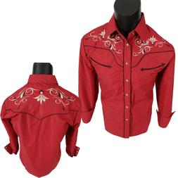 Mens Rodeo Brand Western Shirt Slim Fit Red w/ Floral Embroi