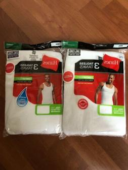 Mens Hanes White Tagless Tanks 6-Pack S-3XL A-SHIRT!!