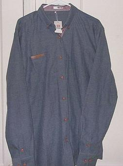H2H Mens XL Embroidered Button Front Long Sleeve New with Ta