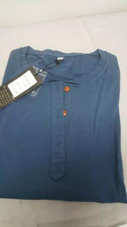 Mr. Zhang Long Sleeve Pull Over Cotton Shirt. Blue. XL