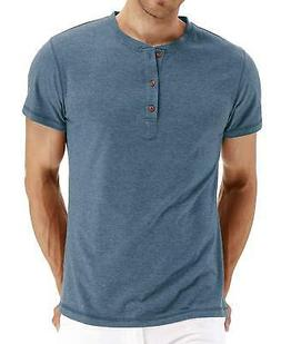 Mr.Zhang Men's Casual Slim Fit Short Sleeve Henley T-shirts
