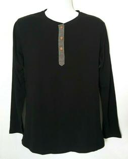 Mr Zhang Men's Medium Casual Slim Long Sleeve Black Henley T