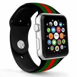 NEW BLACK/RED/GREEN SILICONE GUCCI PATTERN REPLACEMENT BAND
