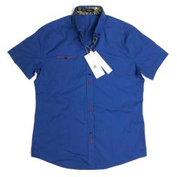 NEW Coofandy Button Front Shirt Men's Large French Blue Pais
