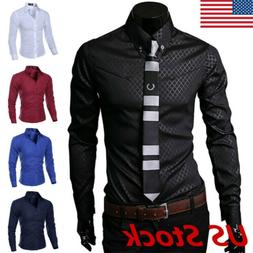 New Fashion Mens Luxury Casual Stylish Slim Fit Long Sleeve