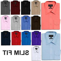 NEW Men's Slim Fit Button Down Long Sleeve Solid Color Dress
