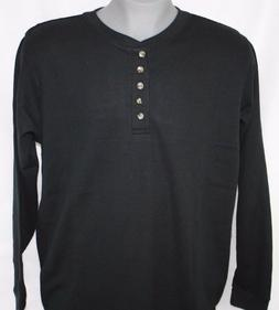 NEW Mens KING SIZE Big & Tall Black Henley Long Sleeve Waffl