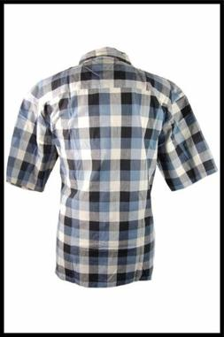 New Mens Clearance 100% Cotton Blue, Green Checkered Button