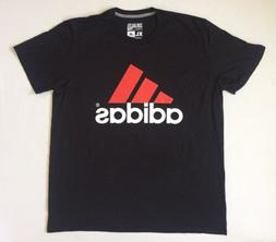 NEW Mens adidas Go To Performance Tee Black Gray Stripes Red