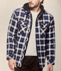 New Boston Traders Men's Quilted Lining Hooded Flannel Shi