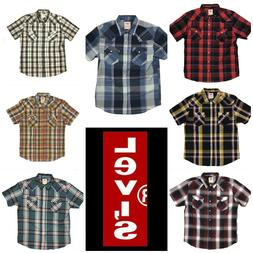 NEW PLAID MENS LEVIS CASUAL COTTON BUTTON UP SHIRT MANY COLO
