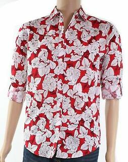 INC NEW Red Mens Size 2XL Floral Print One Pocket Button Dow