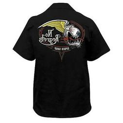 Lethal Threat No Regrets Short Sleeve Button Up Mens Motorcy
