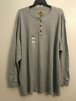 NWT Foundry Men's Big Tall Light Gray Button Neck Waffle Hen