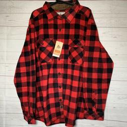 nwt red plaid fleece button down outdoor