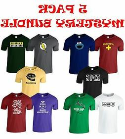 Pack Of 5 Mens Mystery Bundle Popular Design T-Shirt Clearan